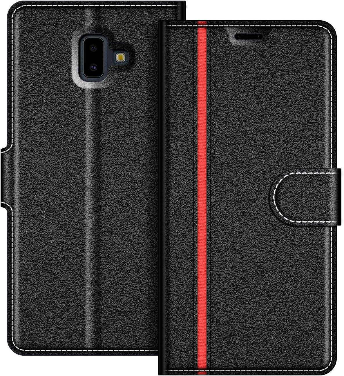 COODIO Funda Samsung Galaxy J6 Plus con Tapa, Funda Movil Samsung J6 Plus, Funda Libro Galaxy J6 Plus Carcasa Magnético Funda para Samsung Galaxy J6 Plus 2018, Negro/Rojo: Amazon.es: Electrónica