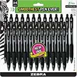 Zebra Z-Grip Retractable Ballpoint Pen, Medium Point 1.0mm, Black Ink, Clear Barrel, 24-Count