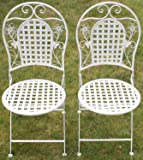 Maribelle - Gartenmöbel-Set - 2 runde Stühle - Florales Design - Metall - Weiß mit Antik-Finish