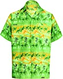 La Leela Hawaiian Shirt For Men Short Sleeve Front-Pocket Beach Palm Trees