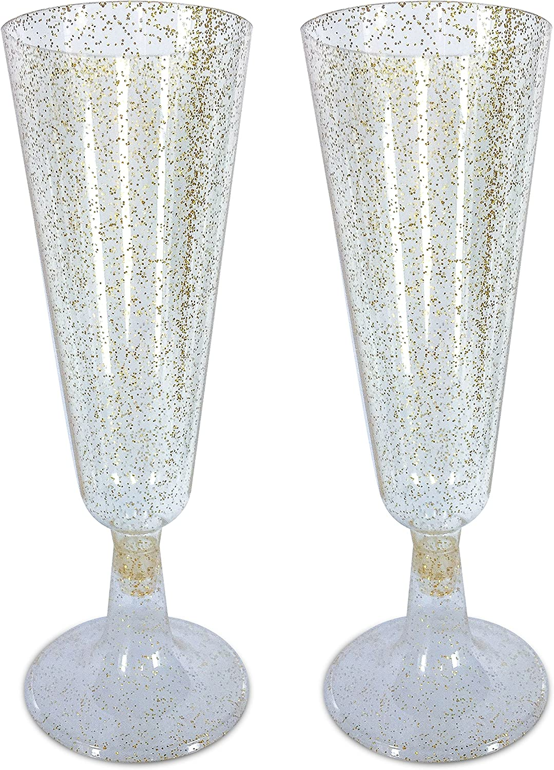 60 Pack 5 oz Glittered Wine Cocktail Disposable Plastic Cups For Weddings