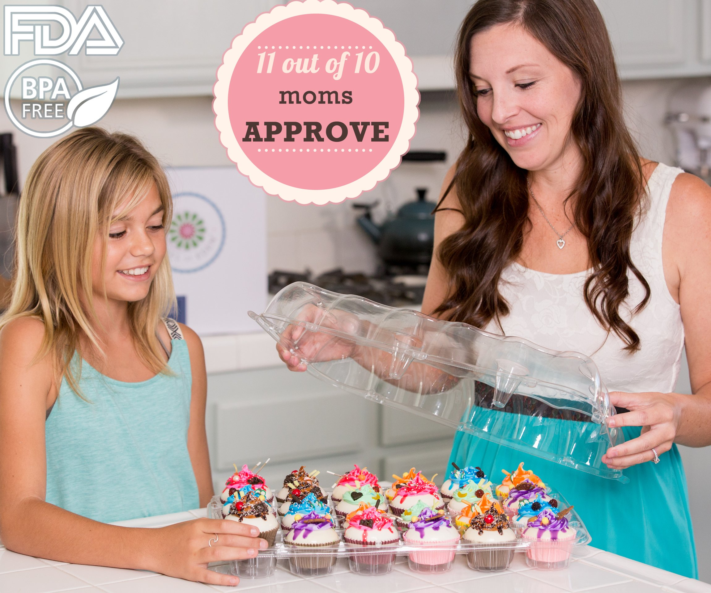 (6 Pack) Fill'nGo Carrier Holds 24 Standard Cupcakes - Ultra Sturdy Cupcake Boxes | Tall Dome Detachable Lid | Clear Plastic Disposable Containers | Storage Tray | Travel Holder | Also Regular Muffins by Cakes of Eden (Image #9)
