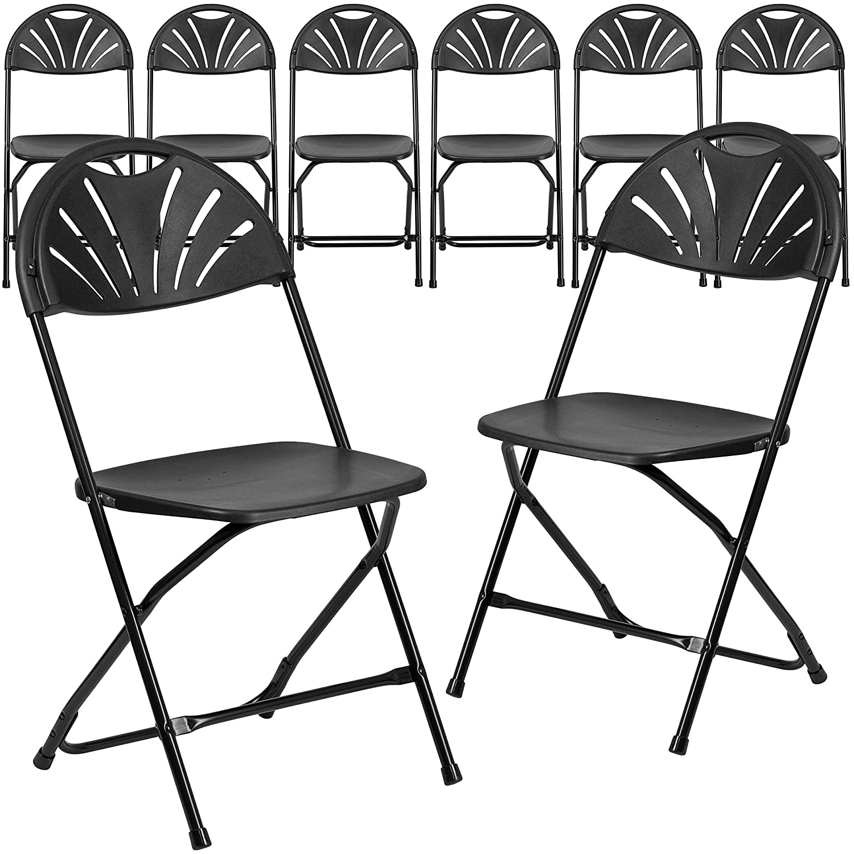 Flash Furniture 8 Pk. HERCULES Series 800 lb. Capacity Black Plastic Fan Back Folding Chair 8-LE-L-4-BK-GG