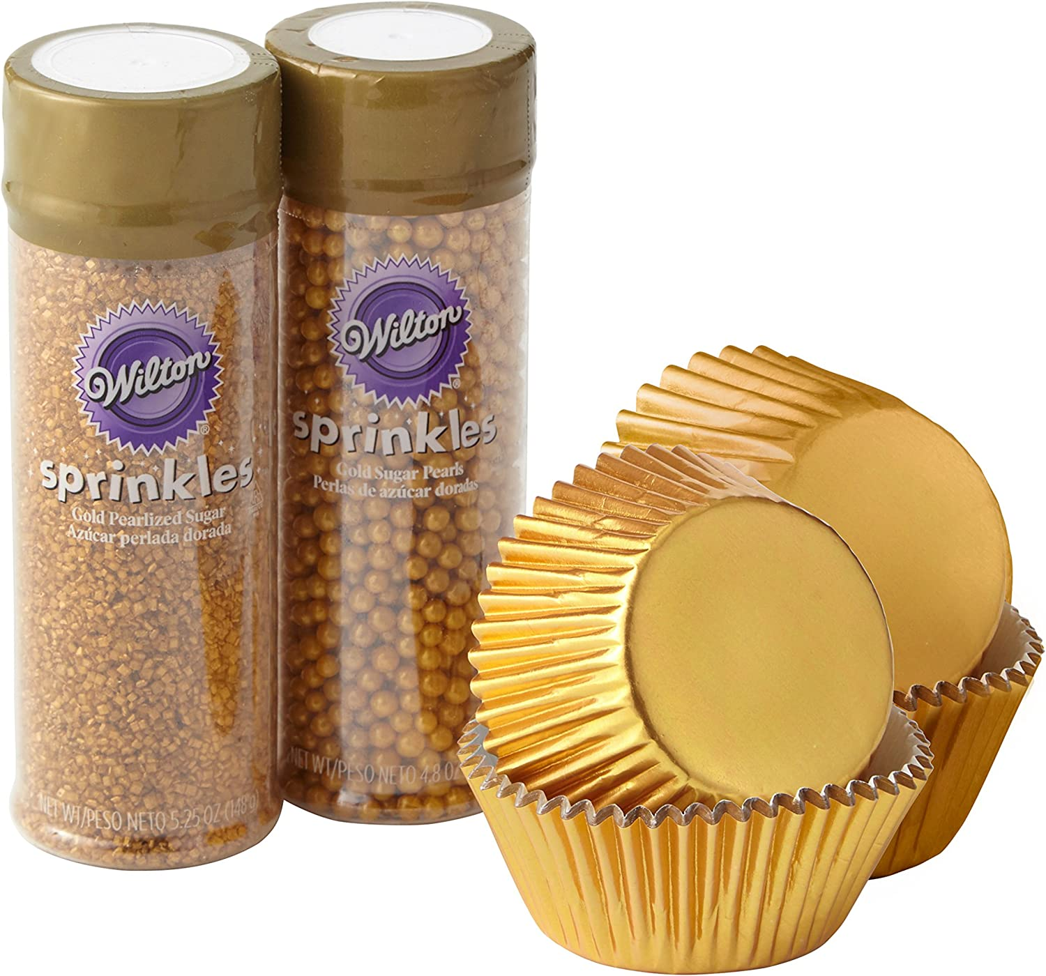 Wilton Gold Cupcake Decorating Kit, 4-Piece - Gold Baking Cups and Sprinkles