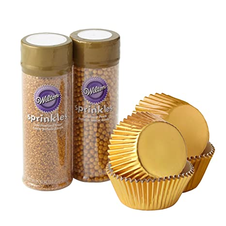 Wilton Gold Cupcake Decorating Kit 4 Piece Gold Baking Cups And Sprinkles