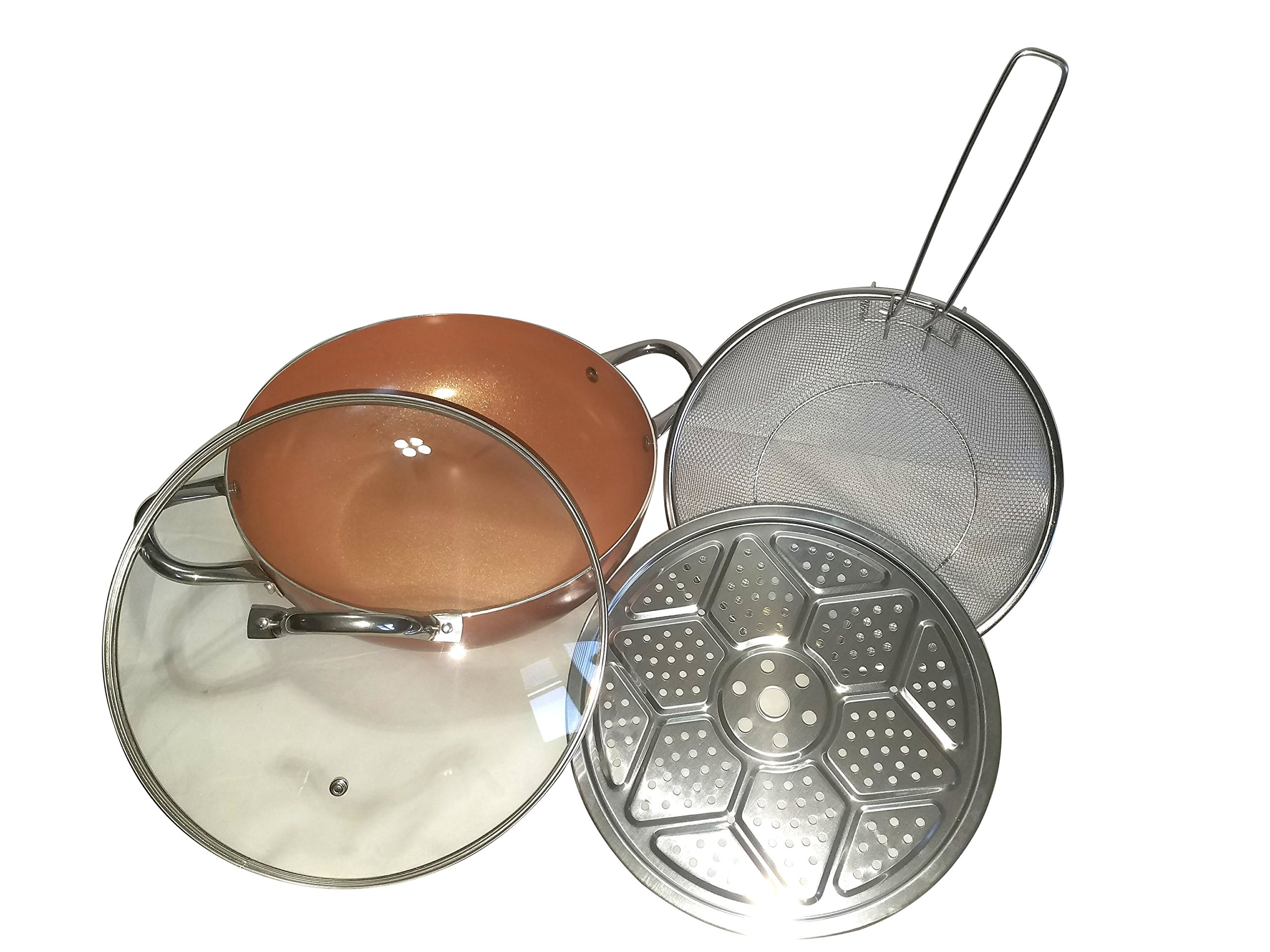 Copper Wok XL 12 Inch Pan 4 Piece Set Non Stick Ceramic Coating Induction Base Tempered Glass Lid