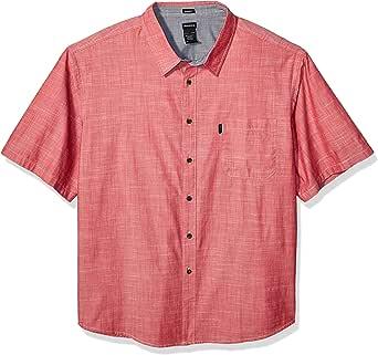 Camisa Chambray de manga corta con cuello en contraste