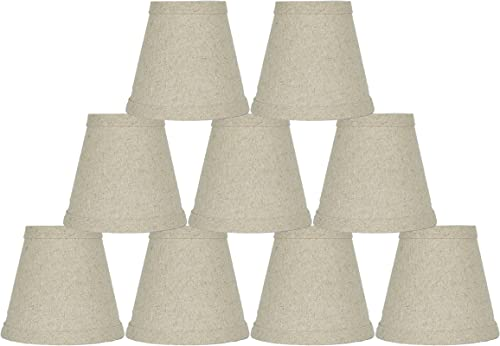 Urbanest Set of 9 Natural Pure Linen Chandelier Lamp Shade, 3x5x4.5 , Hardback, Clip On