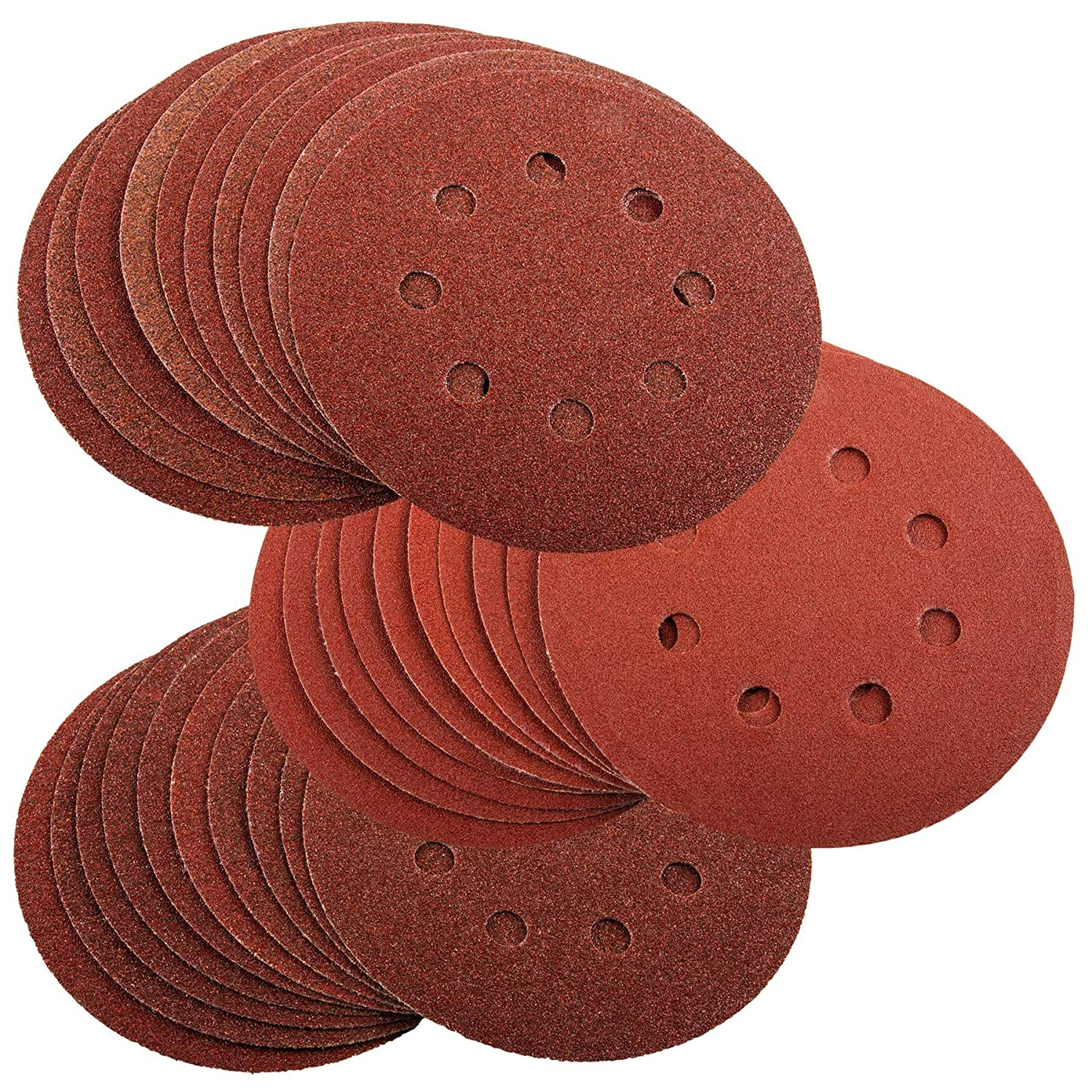 30 125mm Assorted Sanding Discs For Bosch PEX 220 300 Random Orbital Sander 60 80 120 Grit Silverline