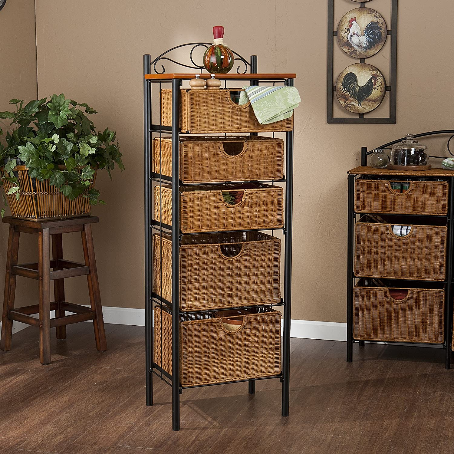 New Amazon.com: Iron/Wicker Five Drawer Storage Unit: Home & Kitchen DW59