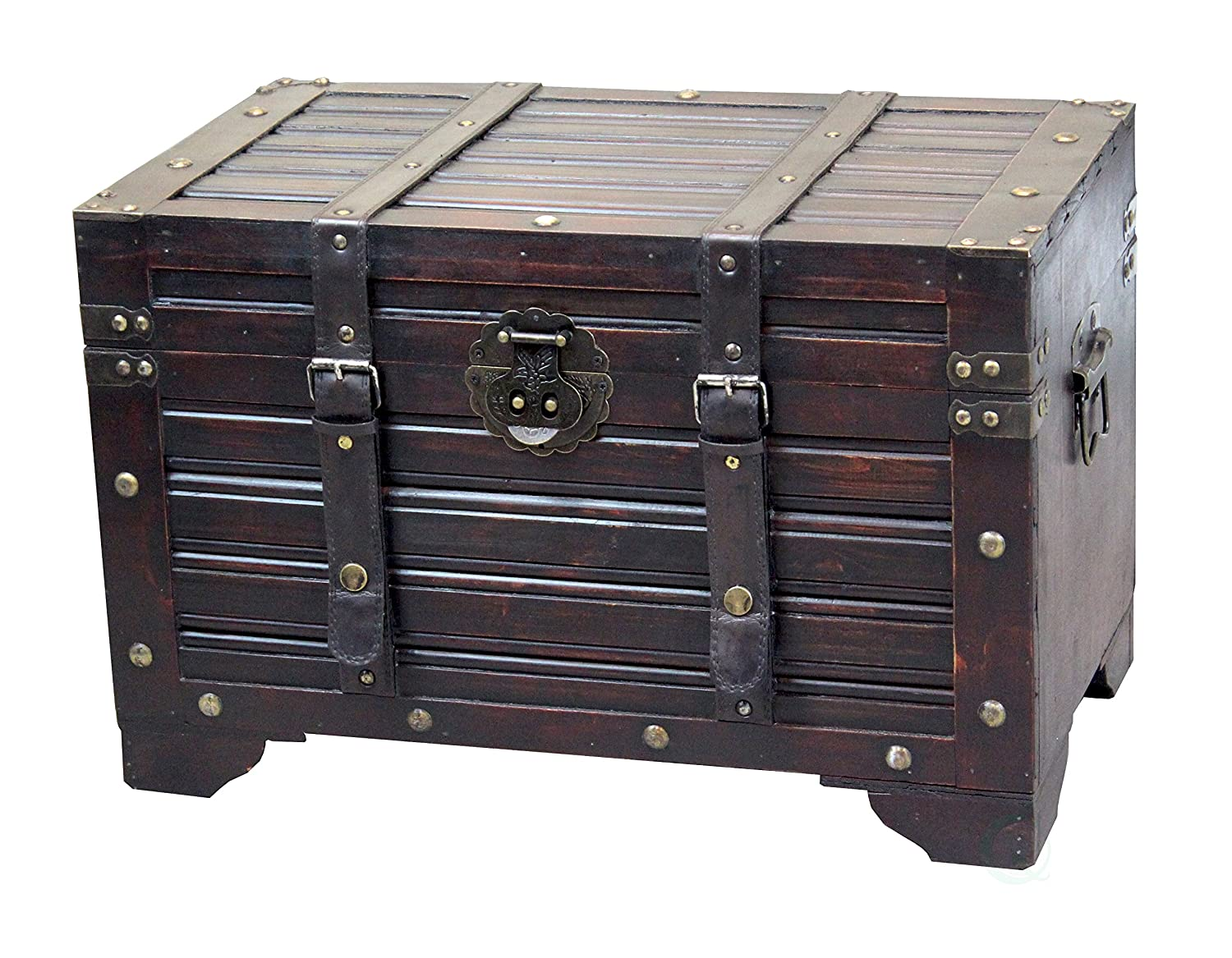 Decorative Antique Style Wooden Storage Trunk with Faux Leather Straps Quickway Imports QI003317