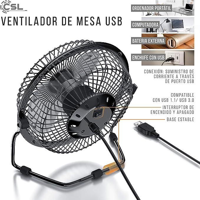 Ventilador de Mesa 19 cm USB y Corriente Metalico Aspas de