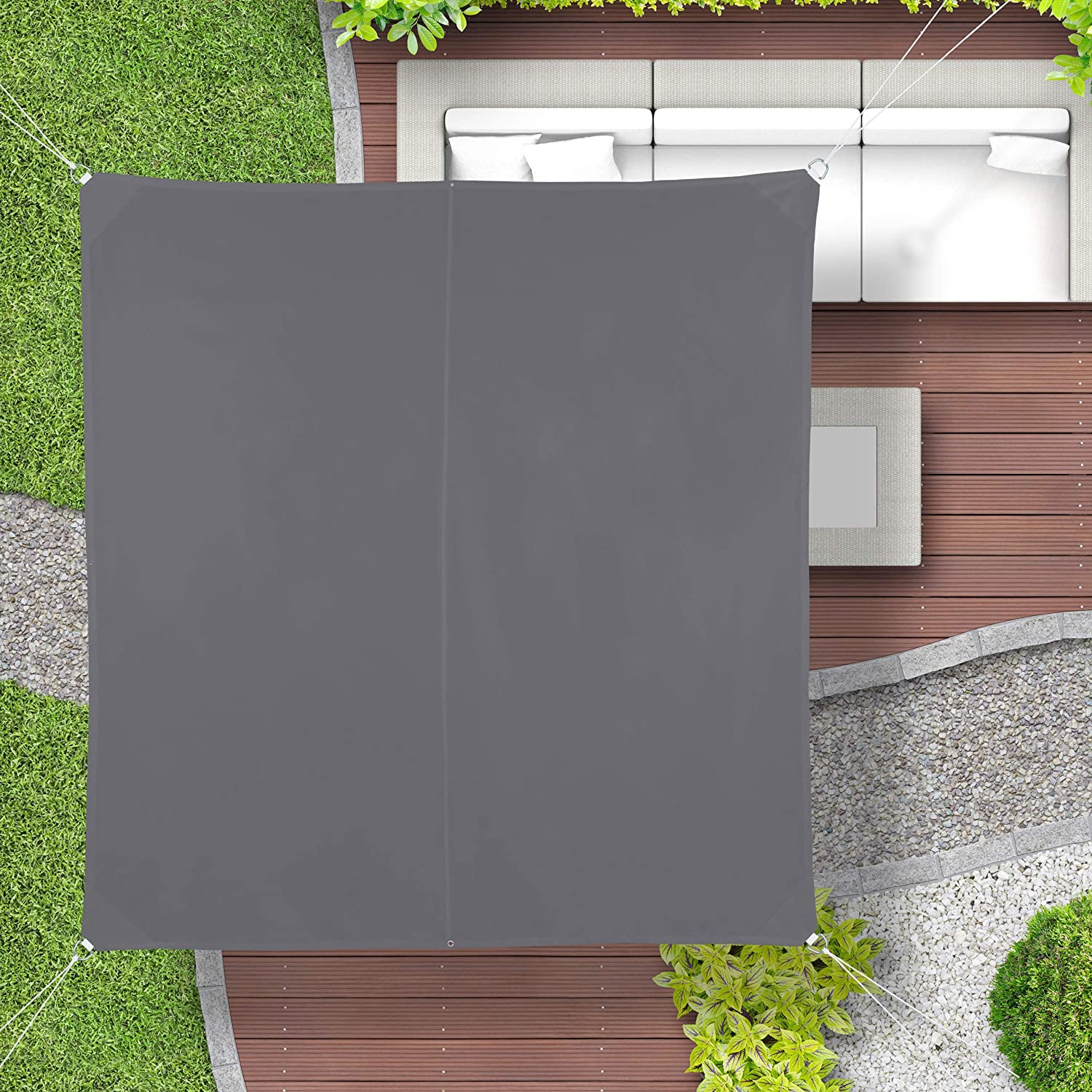 Balcony Canopy Relaxdays Shade Sail Water-Repellent Grey WXD: 2 x 2 m UV-Protection with Tethers Square