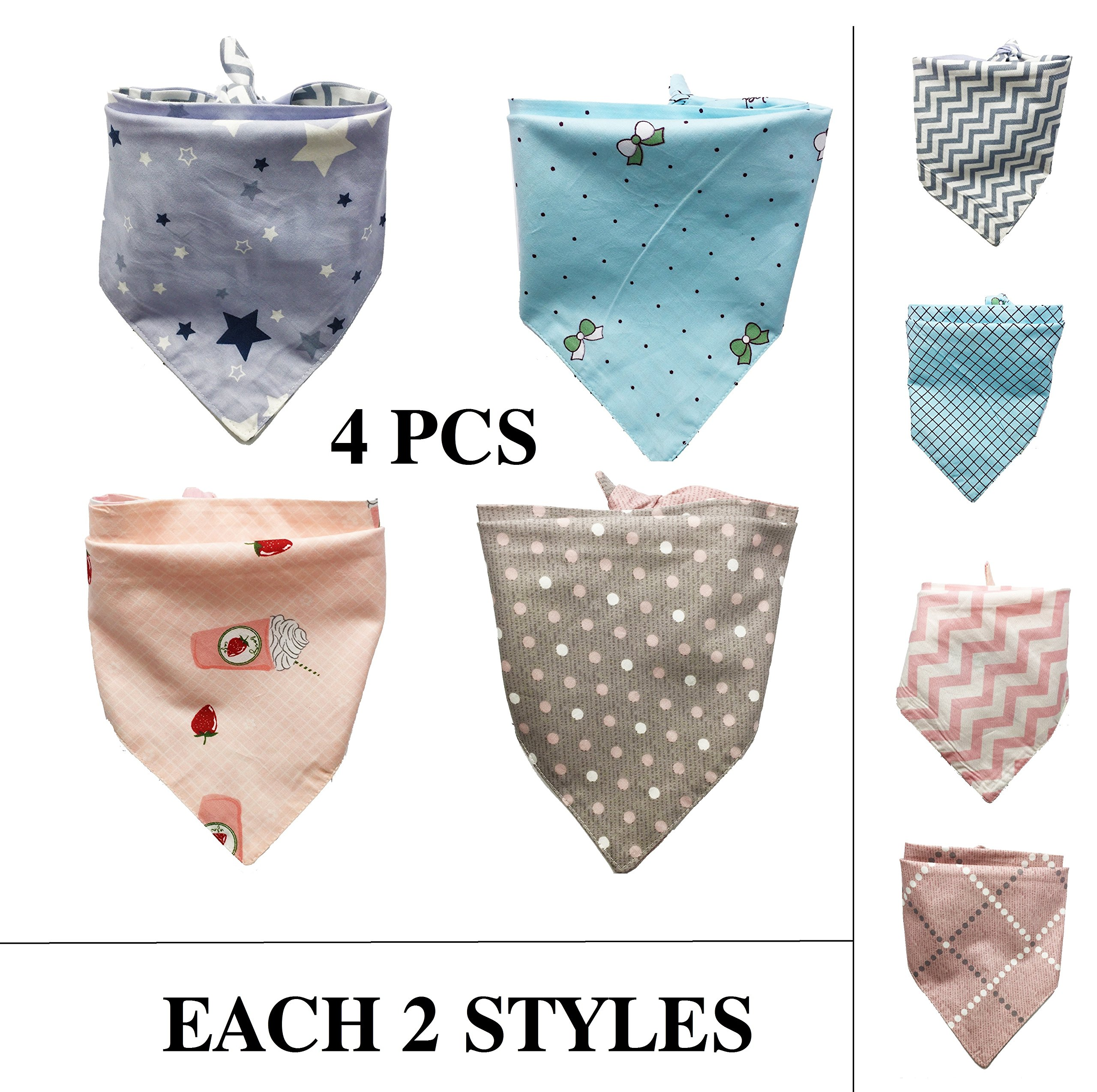 FUNPET 4 Pcs Dog Bandana Triangle Bibs Scarfs Accessories for Pet Cats and Puppies