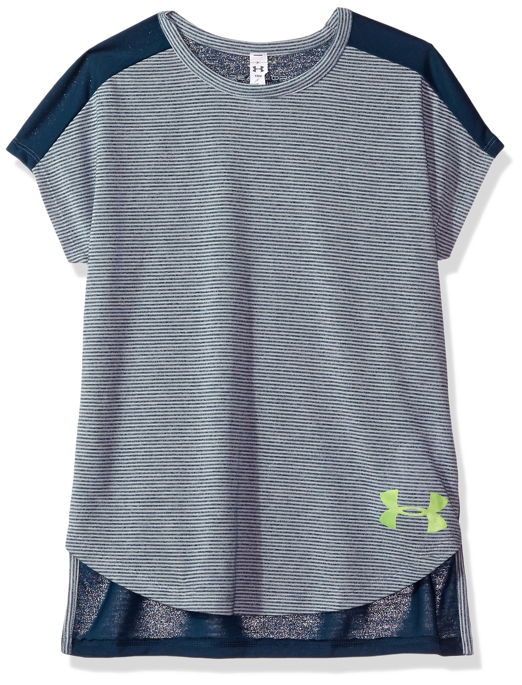 Under Armour Girls' Threadborne Play Up T-Shirt,True Ink /Quirky Lime, Youth X-Small