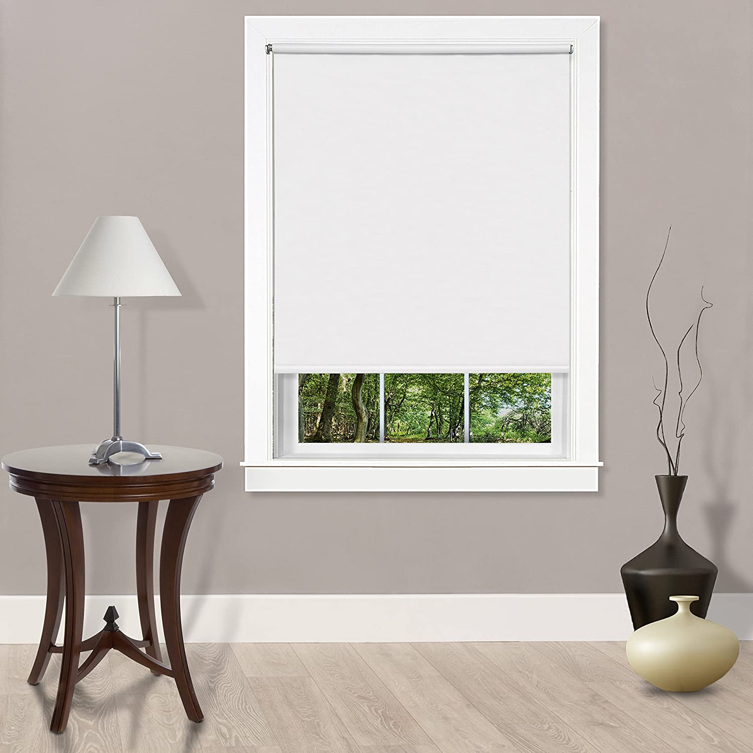 "Achim Home Furnishings Cords Free Tear Down Light Filtering Window Shade, 37"" x 72"", White"