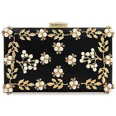 1017ab9afc Milisente Women Clutches Pearls Evening Bag Clutch Purse Bags (Black ...