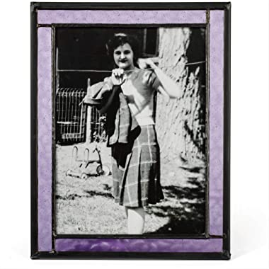 J Devlin Colored Easel Back Series - Stained Glass 5x7 Picture Frame Displays Horizontally or Vertically (Purple)