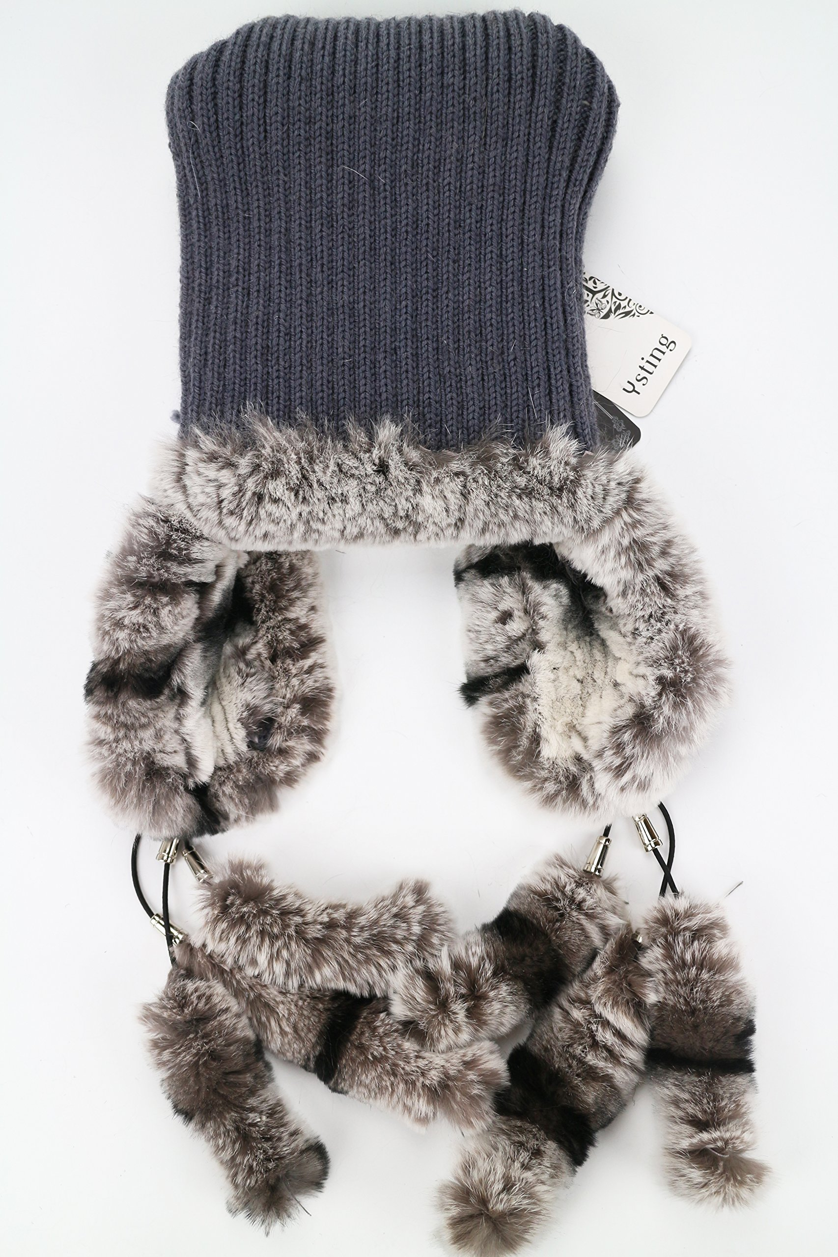 Ysting Womens Knit Rex Rabbit Fur Beanie Hat with Silver Fox Fur Top Natural Fur Hats Earmuff (A) by Ysting&CO (Image #5)
