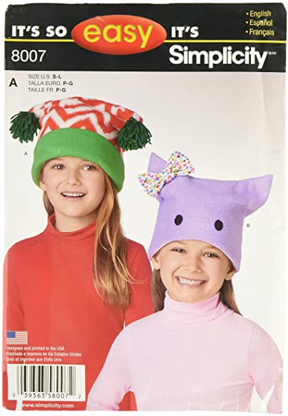Simplicity Patterns Childs Its So Easy Fleece Hats Size: A (S-M-L), ...
