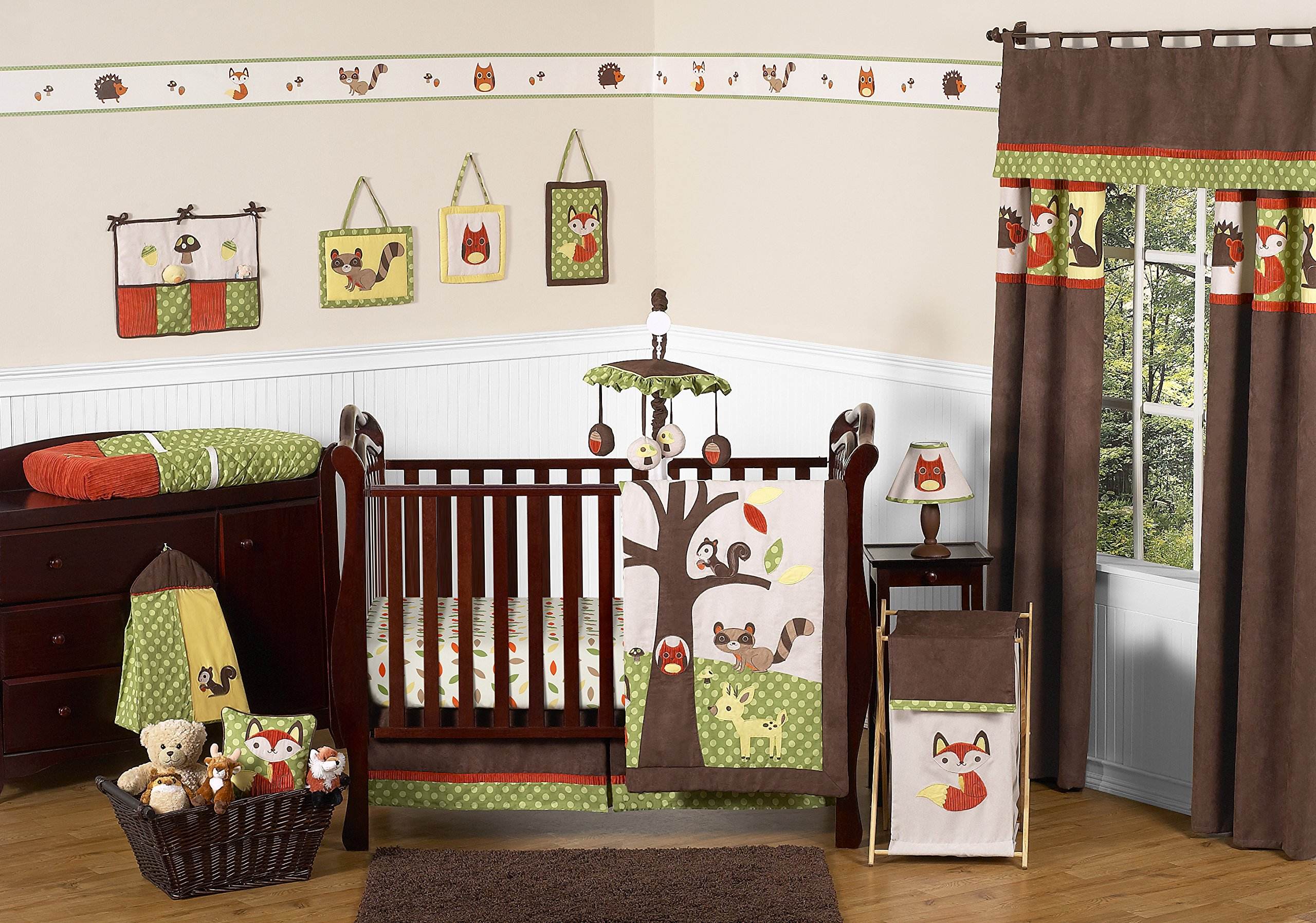 Sweet Jojo Designs 11-Piece Woodland Forest Animals Owl Deer Tree Baby Boy Nature Bedding Crib Set Without Bumper