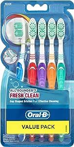 Oral-B All Rounder Fresh Clean Toothbrush Medium, 5 Pack