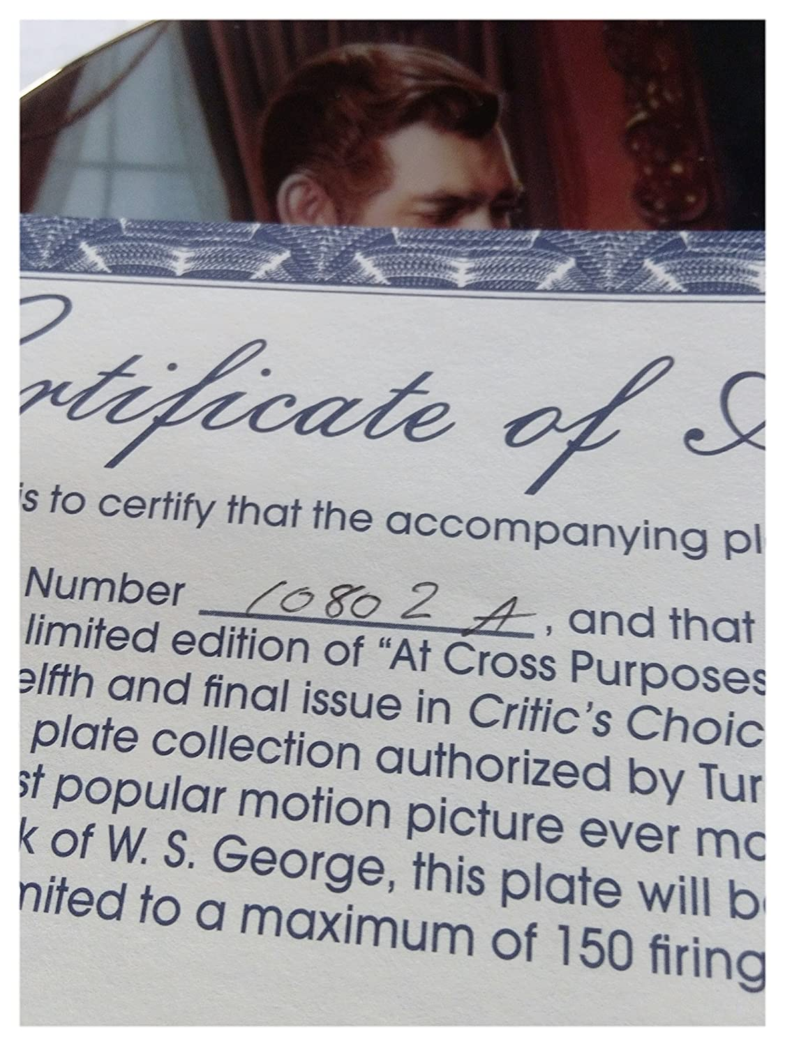 Collector Plate W.S.George Gone With The Wind At Cross Purposes
