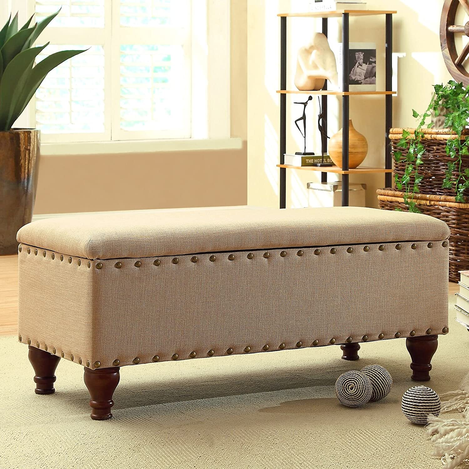 Storage Bench Bedroom Nailhead Upholstered Ottoman Sitting Foot Bed ...