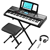 RIF6 Electric 61 Key Piano Keyboard - with Over Ear Headphones, Music Stand, Digital LCD Display, Teaching Modes and Adjustab