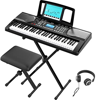 RIF6 Electric 61 Key Piano Keyboard - with Over Ear Headphones, Music Stand, Digital LCD Display, Teaching Modes and Adjustable Stool - Electronic Musical Instruments Starter Set for Kids and Adults best electric keyboards