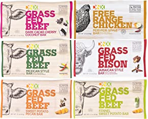 DNX Bar-Trial Pack-Grass Fed Beef & Bison-Free Range Chicken Protein Bars- Organic Ingredients, Gluten Free, Whole30 Approved, Paleo and Keto Inspired Ingredients to Make a Truly Epic Bar (6 Bars)