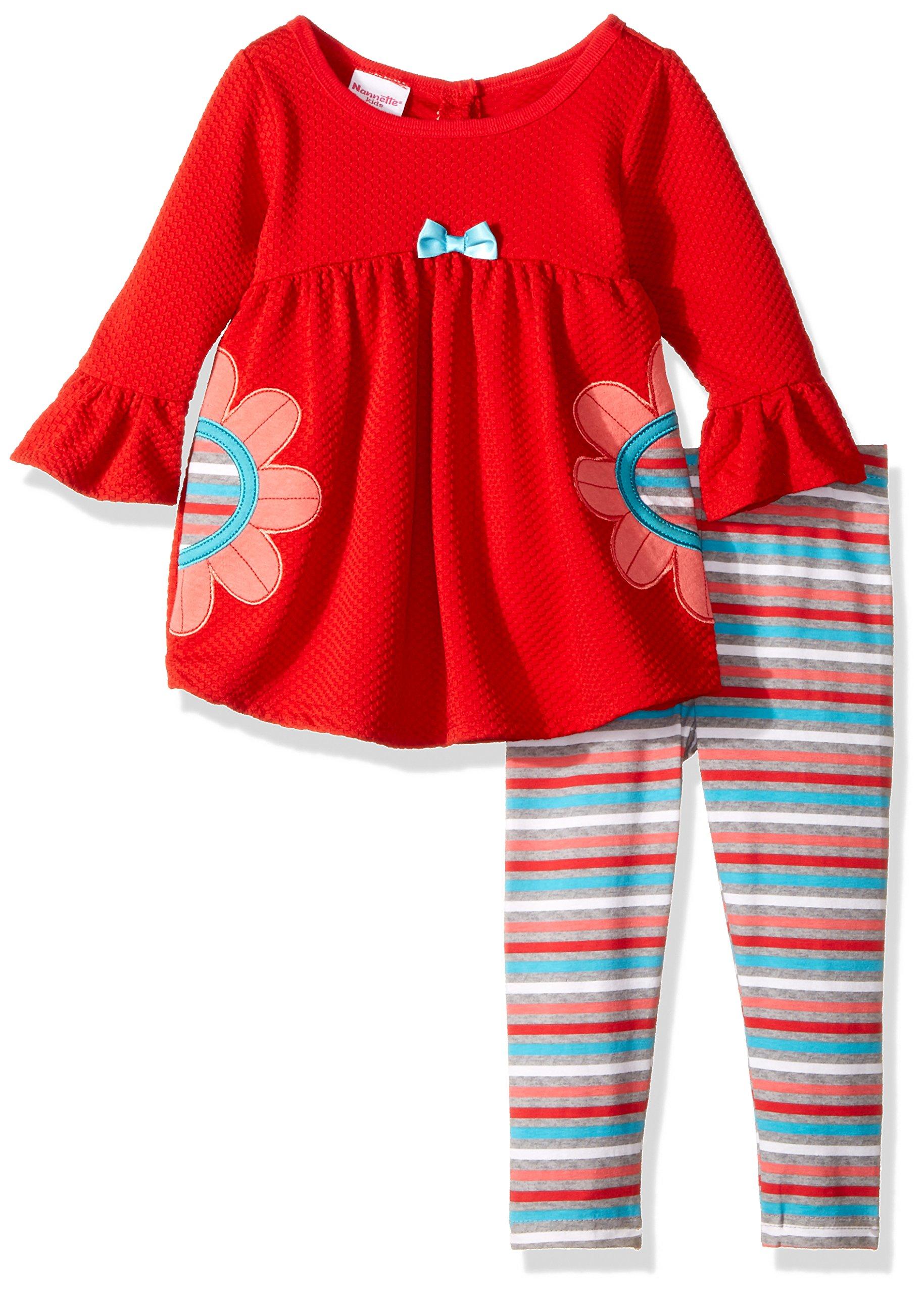 Nannette Baby Girls' Playwear Long Sleeve Top and Legging Set, Flower Red, 18m