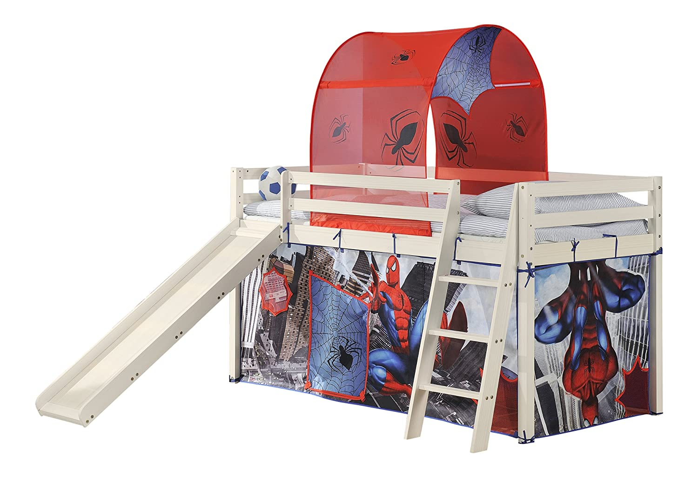 Cabin beds spiderman spiderman cabin bed with slide - Spiderman Cabin Bed Slide W Mattress With Tent Mattress In Whitewash 6970ww Spiderman M Amazon Co Uk Kitchen Home