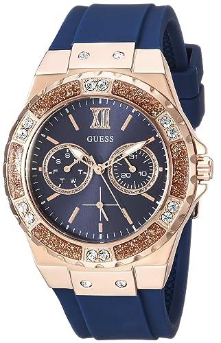 Guess Mujer de Cuarzo Reloj Casual Acero Inoxidable, Color: Azul (Modelo: u1053l1