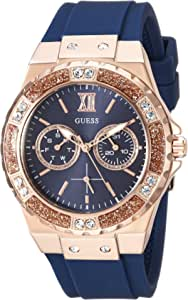 GUESS Women's Stainless Steel + Stain Resistant Silicone Watch with Day + Date Functions