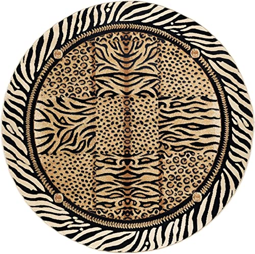 Wild Animal Print Circular Rug, Exotic Safari Animals Zebra Tiger Cheetah Leopard Prints 5ft Round Area Rug, Modern Indoor Circle Floor Mat Black Beige Stripes Border