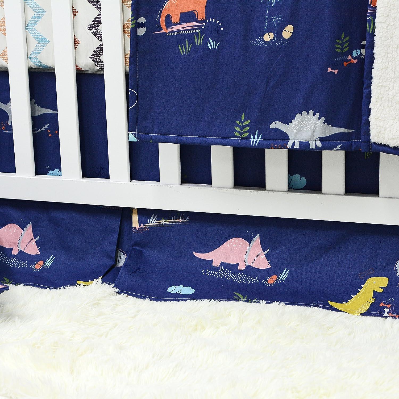 Brandream Dinosaur Crib Bedding Sets for Boys 100/% Cotton Chevron Blue Baby Nursery Bedding 4 peices