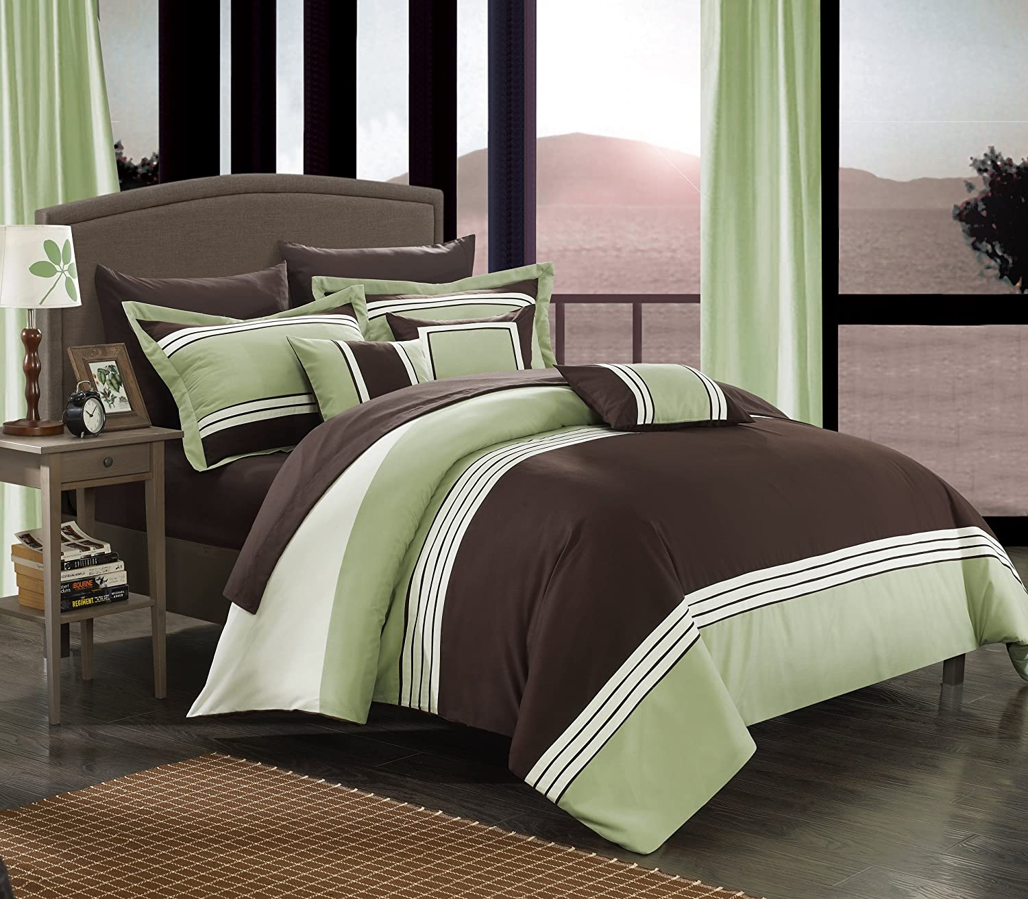 Superior Amazon.com: Chic Home 10 Piece Falcon Bed In A Bag Comforter Set, Queen,  Green: Home U0026 Kitchen