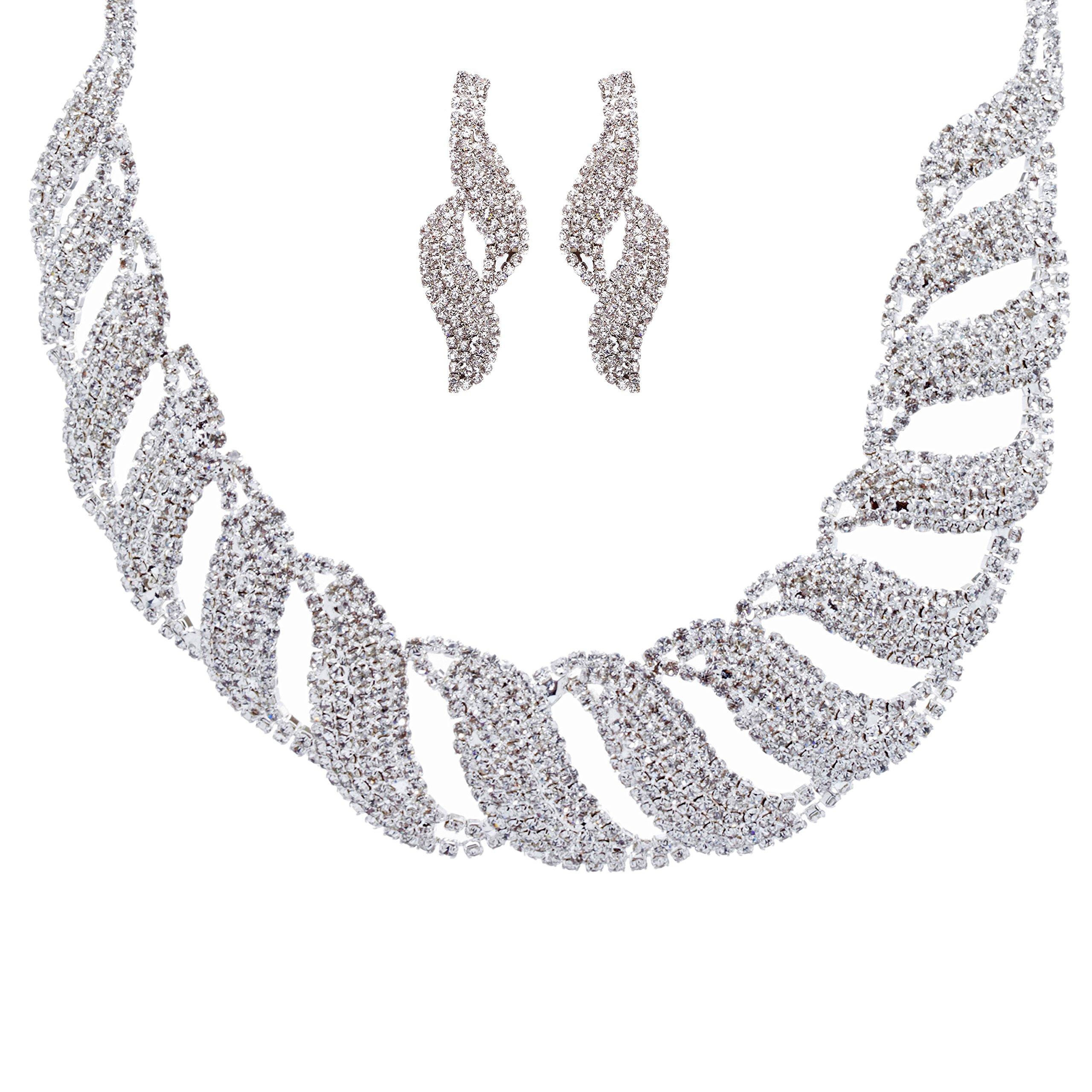 ACCESSORIESFOREVER Women Bridal Wedding Jewelry Crystal Rhinestone Glamorous Bib Design Necklace J491 SLV