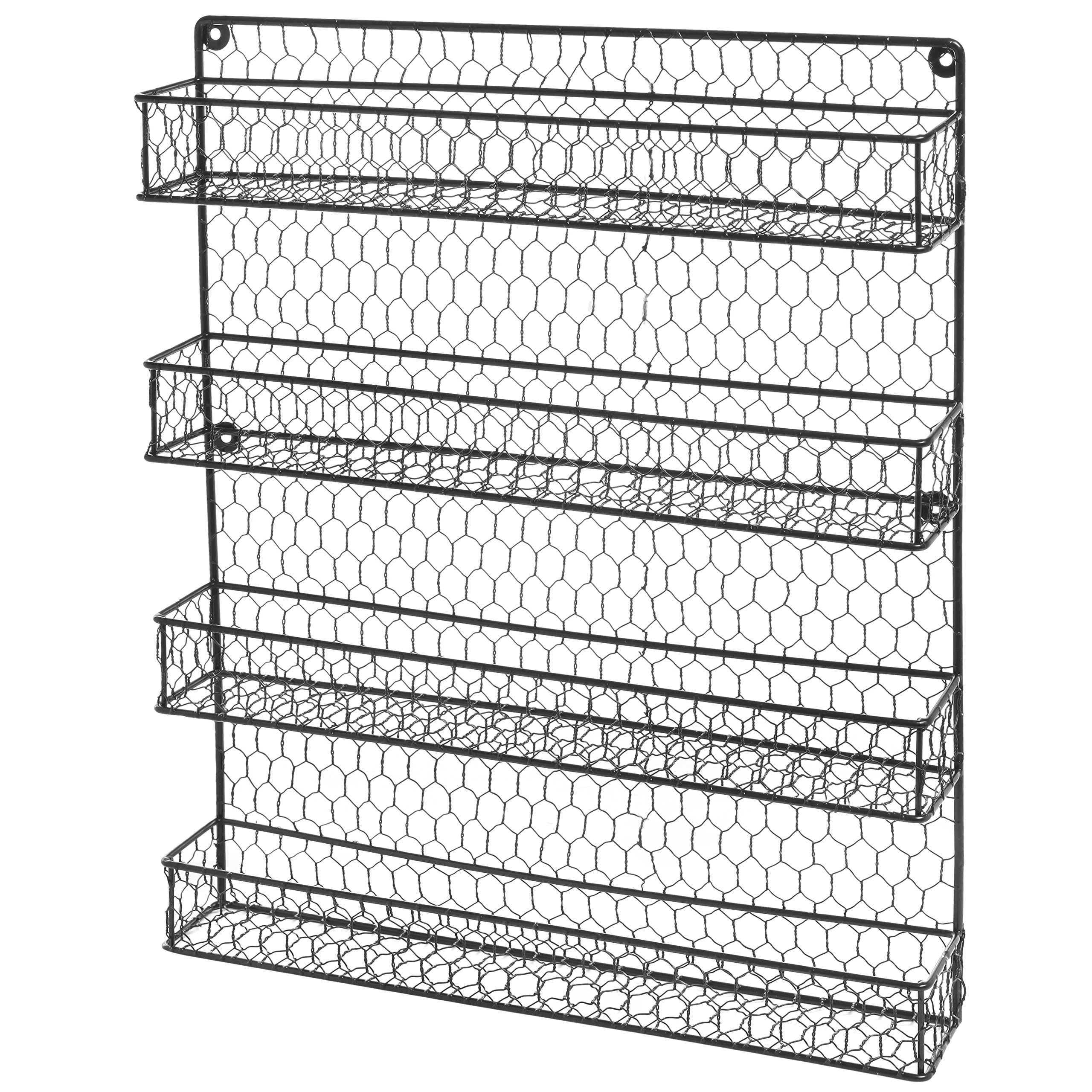 4 Tier Black Country Rustic Chicken Wire Pantry, Cabinet or Wall Mounted Spice Rack Storage Organizer by MyGift (Image #3)