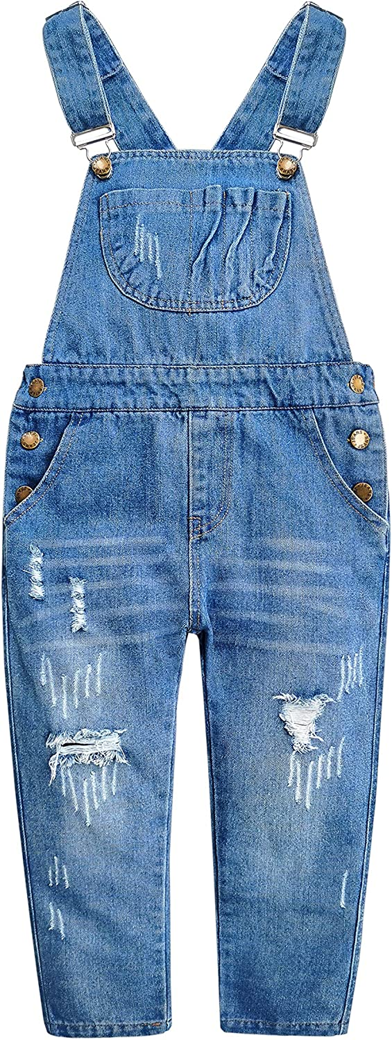 Kidscool Space Girls Big Bibs Pockets Ripped Holes Washed Cotton Jeans Overalls