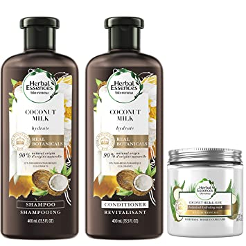 Herbal Essences Shampoo, Conditioner & Hair Mask Kit, Hydrating Coconut Milk, Natural Source Ingredients, Color Safe, 13.5 Oz each, 8 Oz