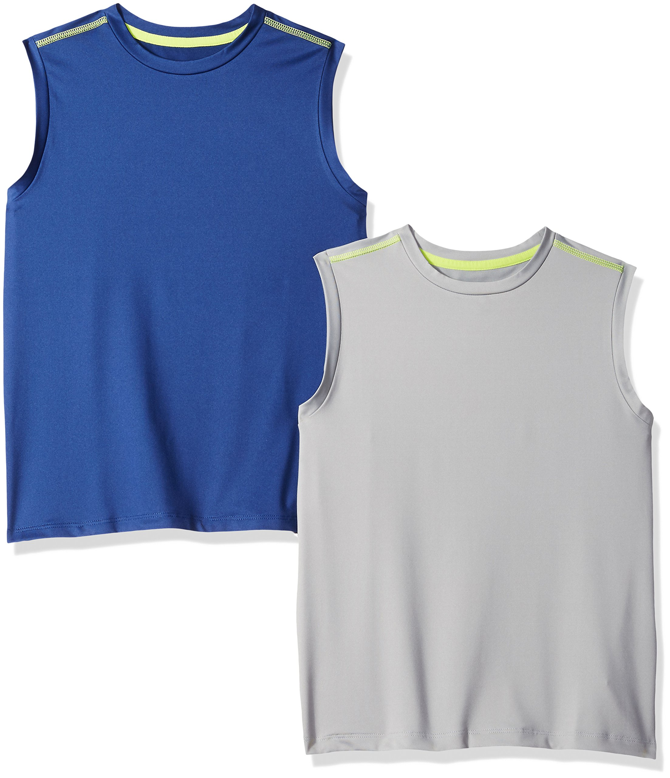 Amazon Essentials Boys' 2-Pack Active Muscle Tank, Navy/Grey, Medium