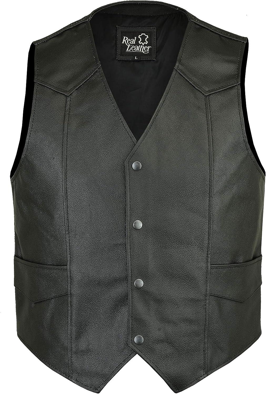 Real Biker Leather Waistcoat Motorcycle Vest Black Side Pockets Buckle Button