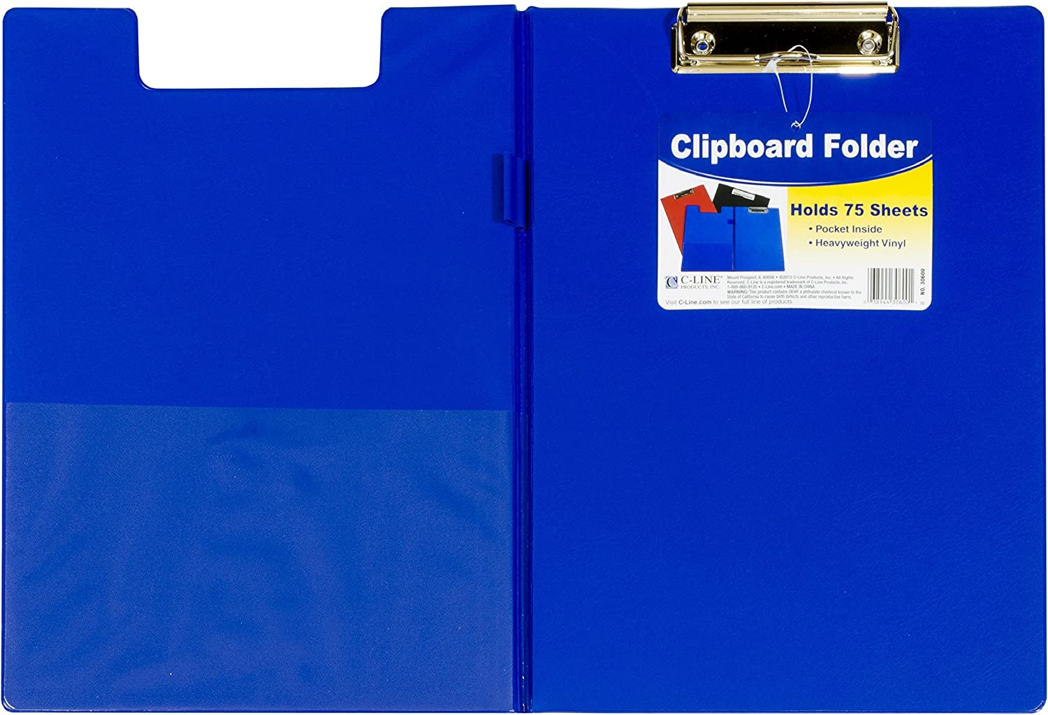 C-Line Clipboard Folder, Letter Size, Holds up to 75 Sheets, 1 Clipboard, Color May Vary (30600)