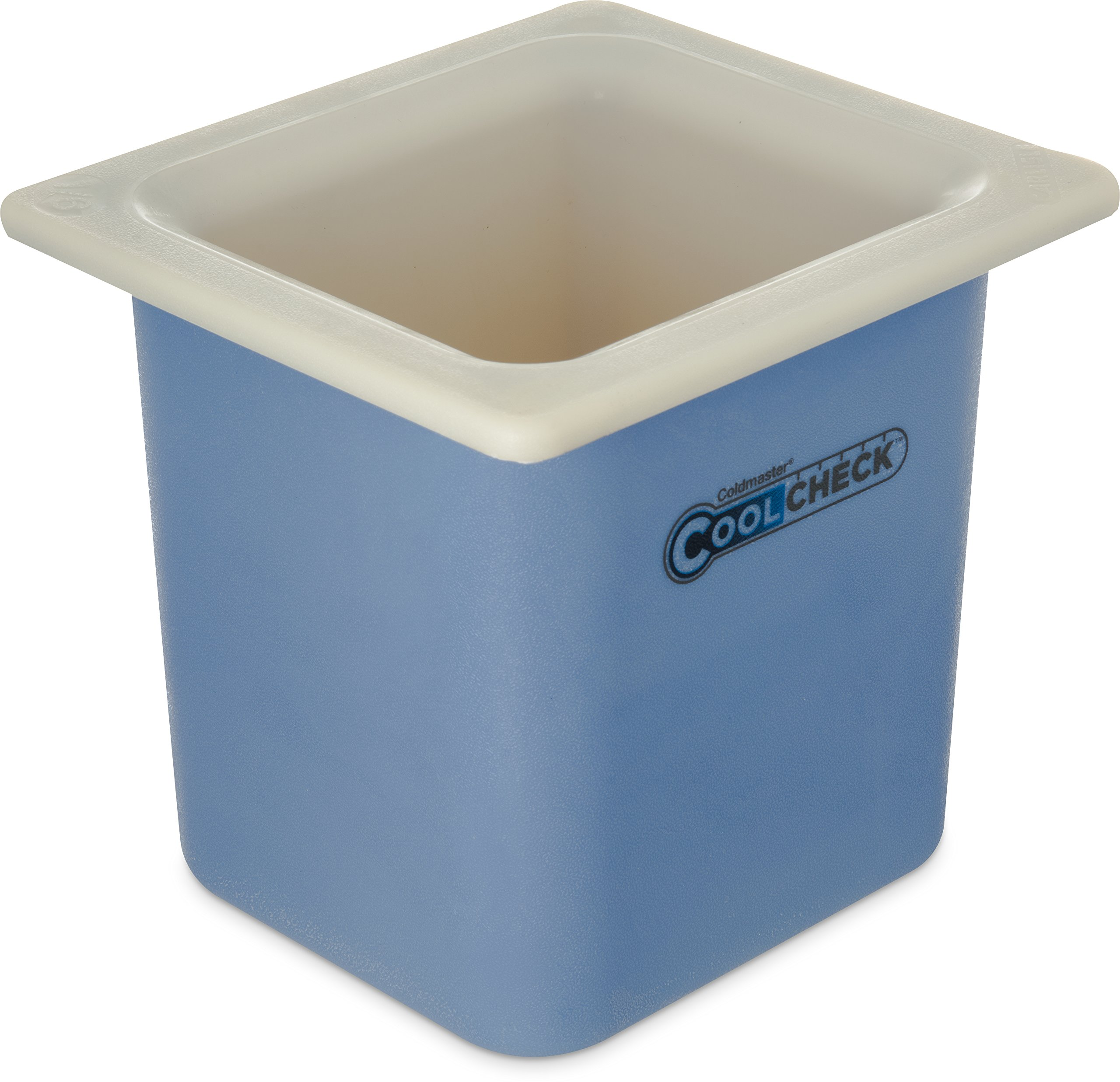Carlisle CM1105C1402 Coldmaster CoolCheck 6'' Deep Sixth-Size High Capacity Insulated Cold Food Pan, 1.7 Quart, Color Changing, White/Blue