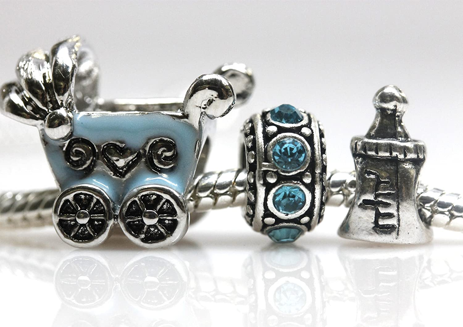 Amazon.com: Set of 3 Baby Boy Charms Baby Stroller Baby Bottle and Blue  Rhinestones Charm Pandora Compatible: Jewelry