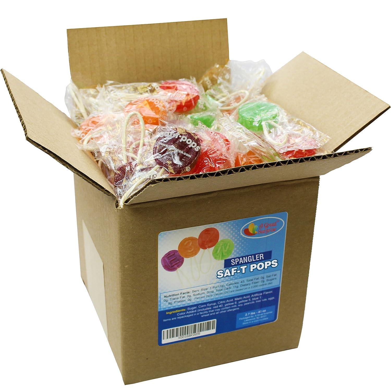 A Great Surprise Saf-T-Pops surtidos sabores, paletas con seguridad palos por Spangler en 6 x 6 x 6 caja caramelo a granel: Amazon.es: Hogar