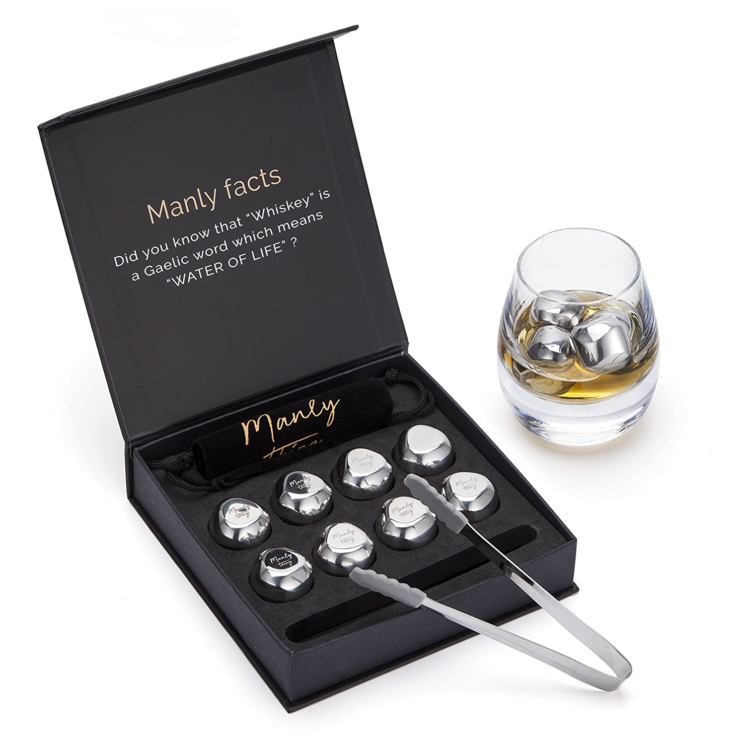 Manly Thing Luxury Whiskey Stones Set of 8 Reusable Drinking Rocks | Perfect for Chilling Bourbon Rum Wine Liquor and Won't Dilute Your Beverage Unlike Ice Cubes | A Premium Whiskey Present for Men |