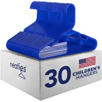 Neaties American Made 30 Premium Children's Blue Plastic Hangers with Notches and Heavy Duty Flexible Construction, 30pk
